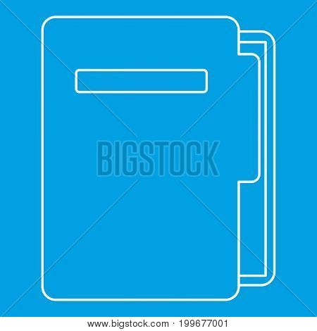 Document folder icon blue outline style isolated vector illustration. Thin line sign