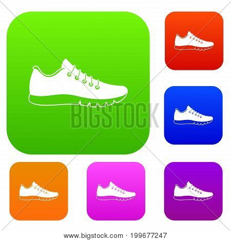 Sneakers set icon in different colors isolated vector illustration. Premium collection
