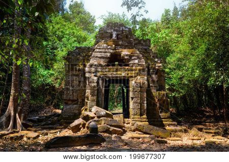 Ancient Stone Temple Ruins In The Jungle, Angkor Wat