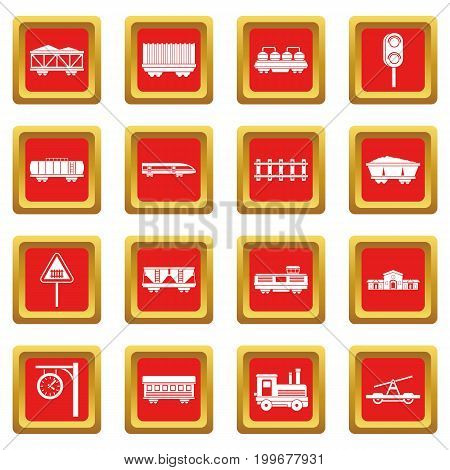 Railway icons set in red color isolated vector illustration for web and any design