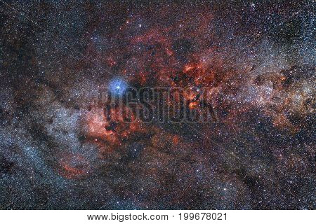 The constellation of Cygnus with the famous North America nebula (NGC7000)