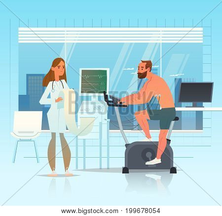 Cardiodiagnosis. The doctor conducts the diagnosis of the patient. An athlete on cardio is connected to heart monitoring. Vector illustration