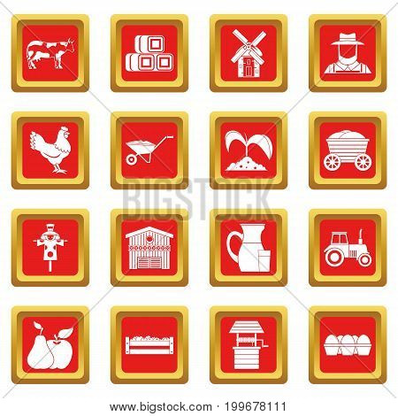 Farm icons set in red color isolated vector illustration for web and any design