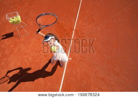Practicing Service On Tennis Training Oyutdoors, Selective Fous