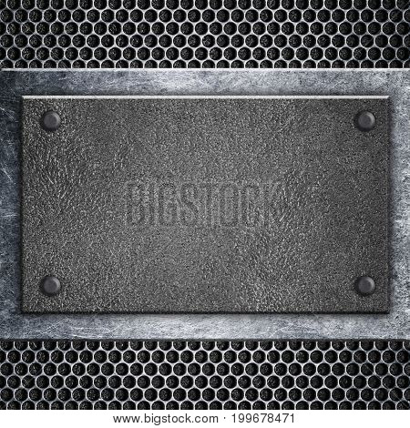 Metal Signboard Attached To Grid, Background For Writing, 3D, Illustration