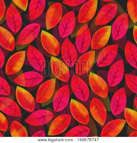 Floral seamless pattern with fallen leaves. Autumn. Leaf fall. Colorful artistic background. Can be used for wallpaper textiles wrapping card cover. Vector illustration eps10