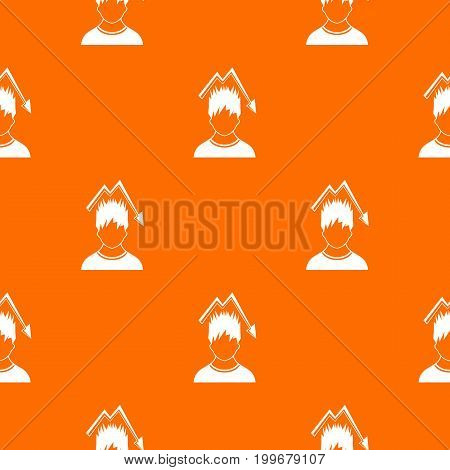 Man with falling red graph over head pattern repeat seamless in orange color for any design. Vector geometric illustration