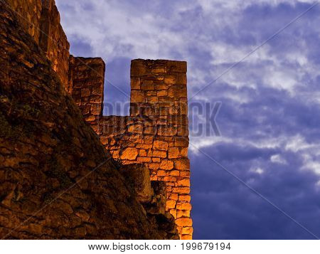Fortress walls and heavy clouds at twilight, Kalemegdan fortress in Belgrade, Serbia