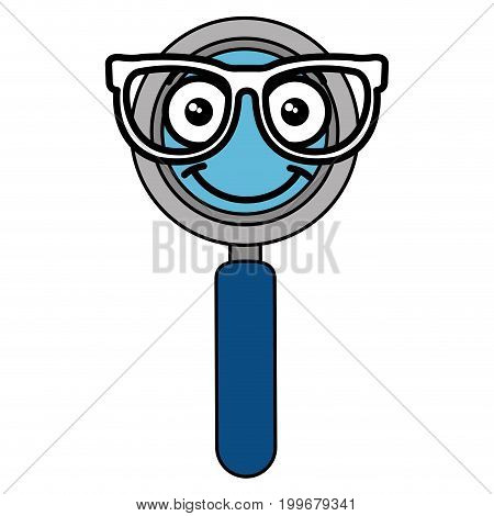 magnifying glass with glasses kawaii character vector illustration design