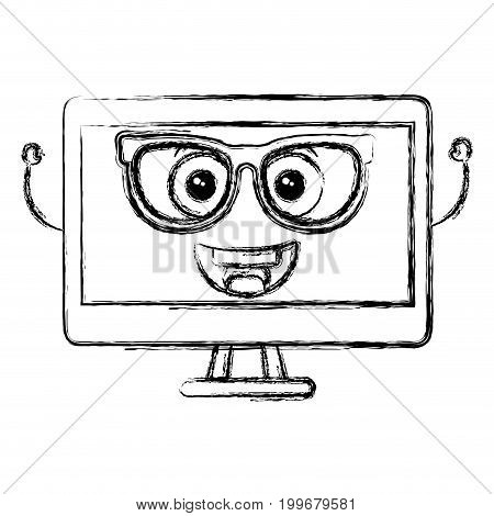computer display with glasses kawaii character vector illustration design