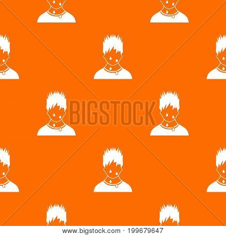 Sweaty man pattern repeat seamless in orange color for any design. Vector geometric illustration