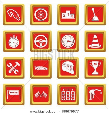 Racing speed icons set in red color isolated vector illustration for web and any design