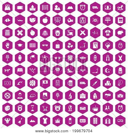 100 alarm clock icons set in violet hexagon isolated vector illustration