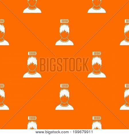 Man with low battery over head pattern repeat seamless in orange color for any design. Vector geometric illustration