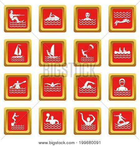 Water sport icons set in red color isolated vector illustration for web and any design