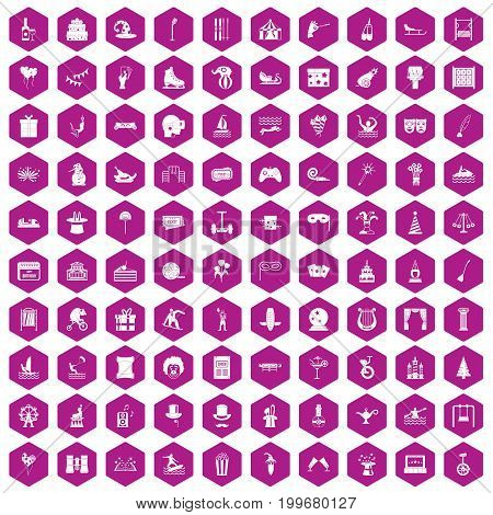 100 amusement icons set in violet hexagon isolated vector illustration