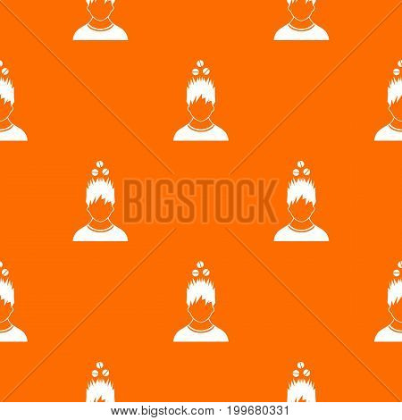 Man with tablets over head pattern repeat seamless in orange color for any design. Vector geometric illustration