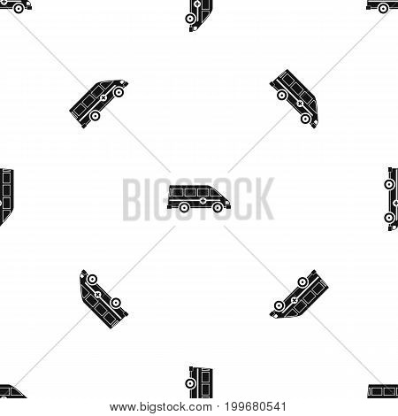 Ambulance emergency van pattern repeat seamless in black color for any design. Vector geometric illustration