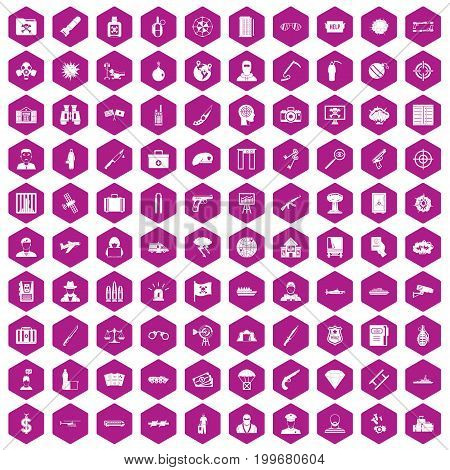 100 antiterrorism icons set in violet hexagon isolated vector illustration