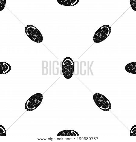 Newborn wrapped in baby blanket pattern repeat seamless in black color for any design. Vector geometric illustration