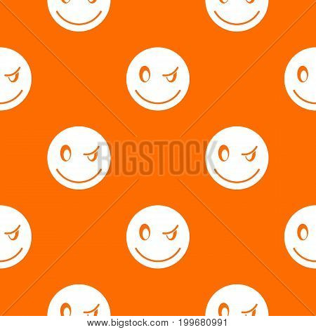 Eyewink emotpattern repeat seamless in orange color for any design. Vector geometric illustration