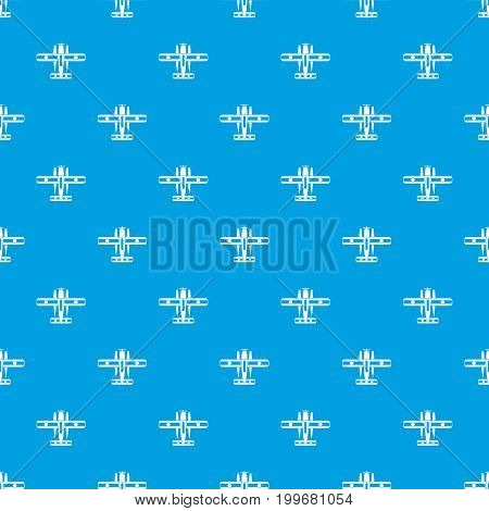 Ski equipped airplane pattern repeat seamless in blue color for any design. Vector geometric illustration