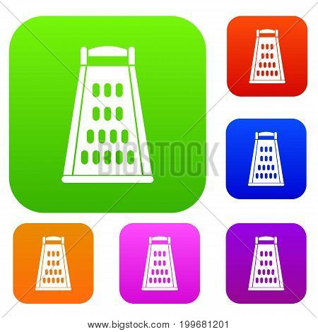 Kitchen grater set icon in different colors isolated vector illustration. Premium collection