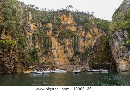 Boats At Furnas Canyon, Capitolio, Minas Gerais, Brazil. Furnas Canyon Is A Common Tourist Destinati