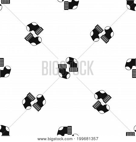 Baby socks pattern repeat seamless in black color for any design. Vector geometric illustration