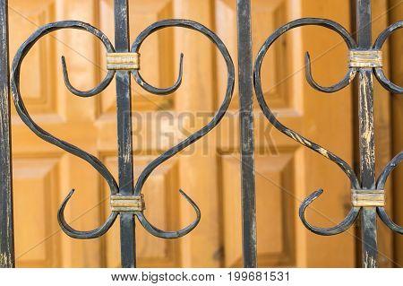 Metal elements of lattices for garden house. Studio Photo