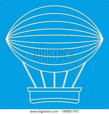 Vintage hot air balloon icon blue outline style isolated vector illustration. Thin line sign