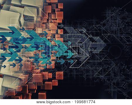3D rendering of digital arrow technology background