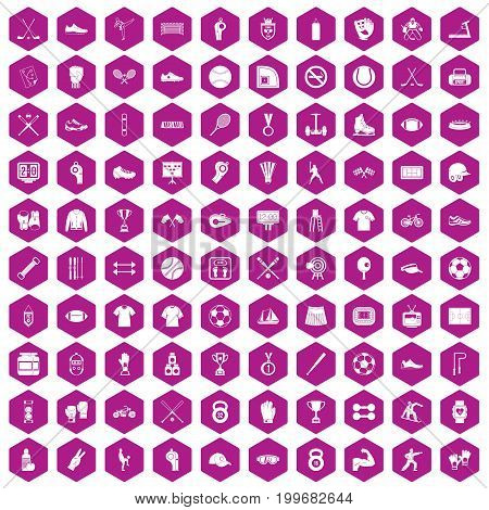 100 athlete icons set in violet hexagon isolated vector illustration