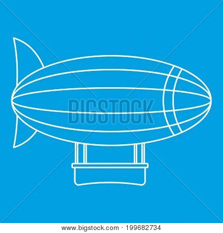 Blimp aircraft flying icon blue outline style isolated vector illustration. Thin line sign