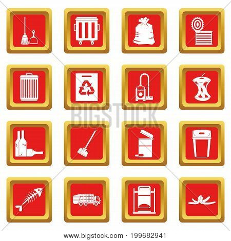 Garbage thing icons set in red color isolated vector illustration for web and any design