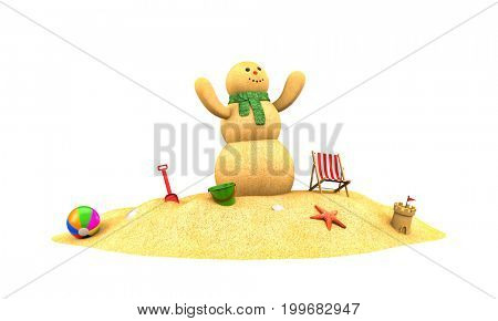 Snowman made from sand rejoice. 3d illustration