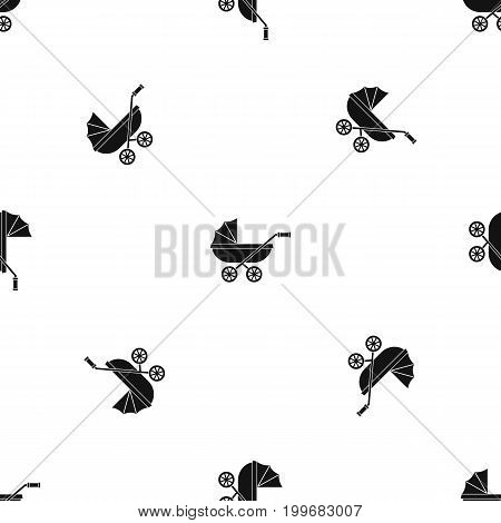 Baby carriage pattern repeat seamless in black color for any design. Vector geometric illustration