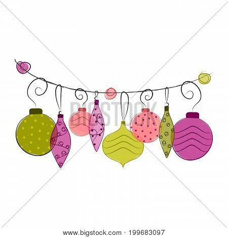 Holiday Illustration. Colorful Ornaments. Vector Illustration Isolated on White.