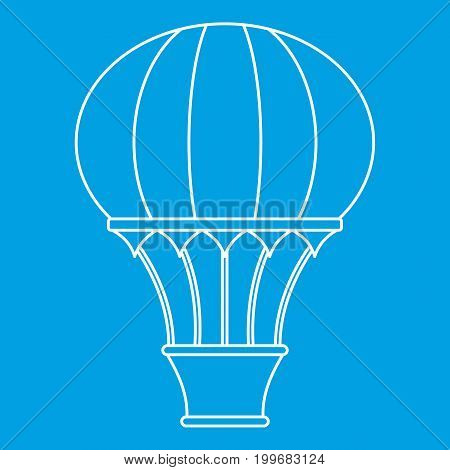 Hot air balloon with basket icon blue outline style isolated vector illustration. Thin line sign