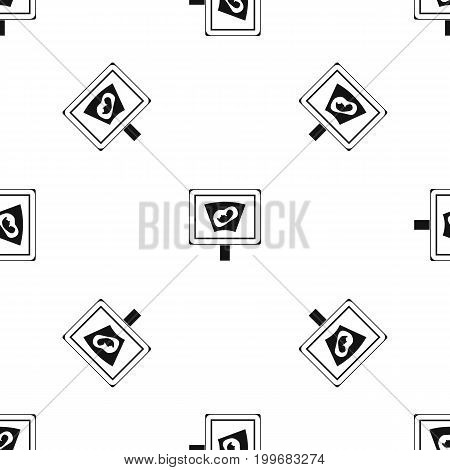 Ultrasound of baby in mother womb pattern repeat seamless in black color for any design. Vector geometric illustration