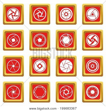 Photo diaphragm set. Simple illustration of 16 photo diaphragm vector icons set in red color isolated vector illustration for web and any design