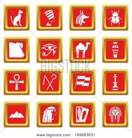 Egypt travel items icons set in red color isolated vector illustration for web and any design
