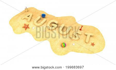 August - word from sand. 3d illustration