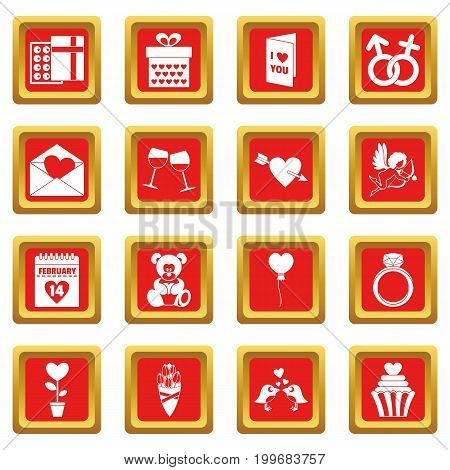 Saint Valentine icoins set. Simple illustration of 16 Saint Valentine vector icons set in red color isolated vector illustration for web and any design