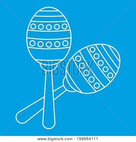 Two maracas icon blue outline style isolated vector illustration. Thin line sign