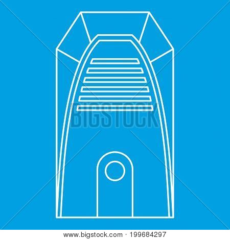 Electric heater icon blue outline style isolated vector illustration. Thin line sign