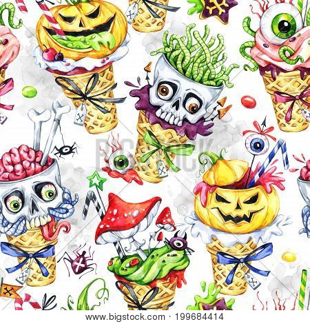 Watercolor seamless pattern, cartoon cones with skulls, pumpkins, eyes and amanitas. Halloween holiday illustration. Funny ice cream dessert. Poisonous treat. Magic, symbol of horror. Baby background.
