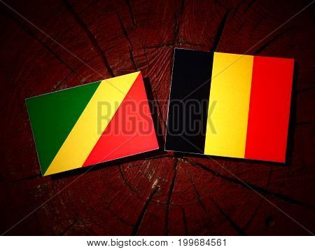 Republic Of The Congo Flag With Belgian Flag On A Tree Stump Isolated