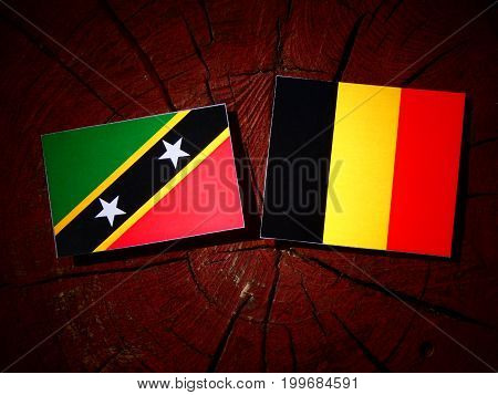 Saint Kitts And Nevis Flag With Belgian Flag On A Tree Stump Isolated