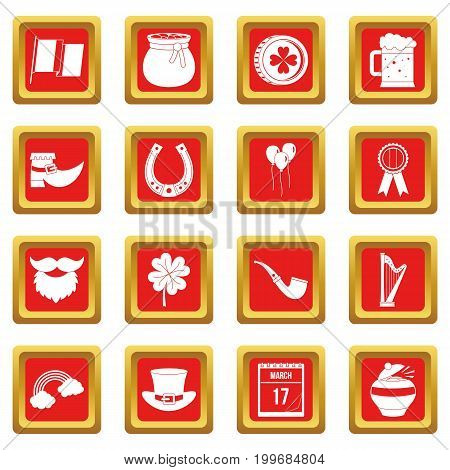 Saint Patrick icons set in red color isolated vector illustration for web and any design